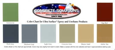 Concrete Solutions Epoxy and Urethane Product Color Chart